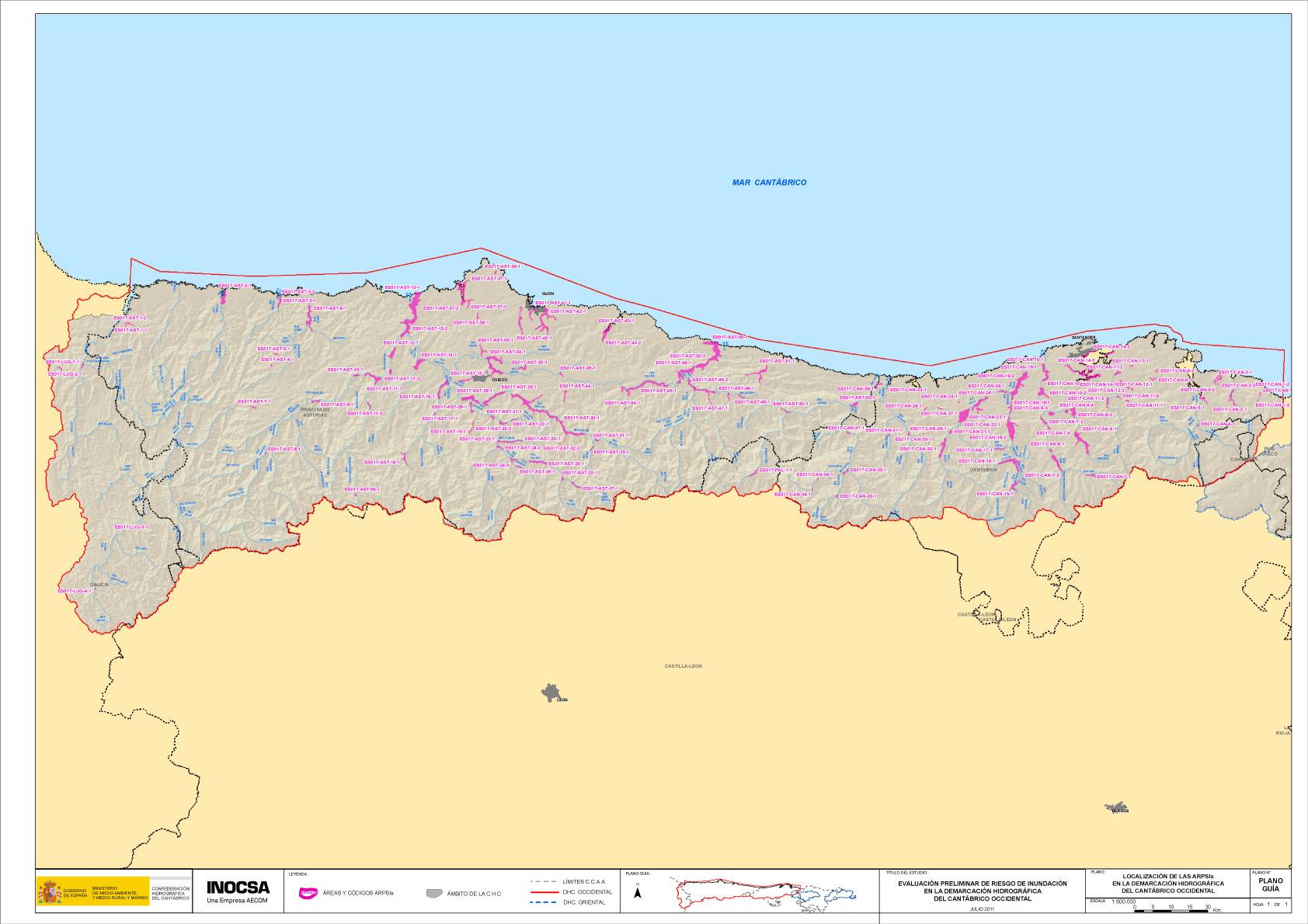 Mapa De Asturias Y Cantabria Juntos.La Confederacion Hidrografica Del Cantabrico Identifica 56