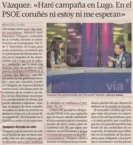 2015-05-08- La Voz de G- francisco vázquez de campaña en Lugo