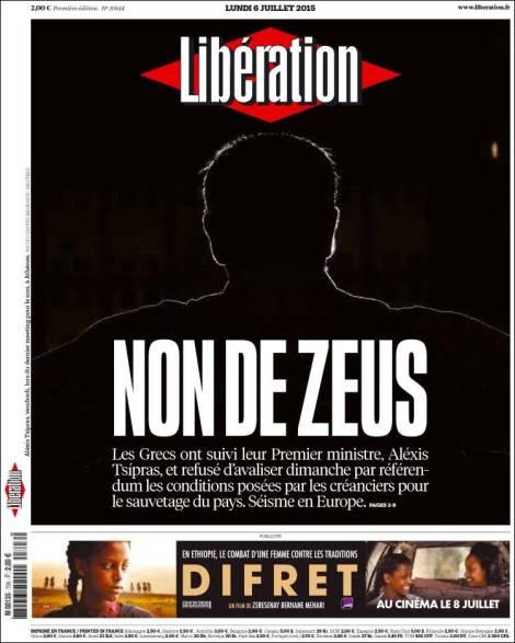 """El NO de Zeus"" Quizás la mejor tapa sobre el referéndum.  ©Yannis Behrakis/Reuters"