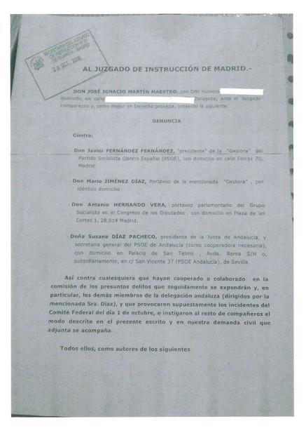Primera hoja de la denuncia interpuesta por Martín Maestro. / Fb.