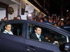 Pedro Sánchez durante una de sus salidas de la sede de Ferraz antes de su dimisión.