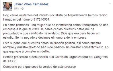 Post en Facebook del secretario general del PSOE en Majadahonda sobre la llamada recibida.
