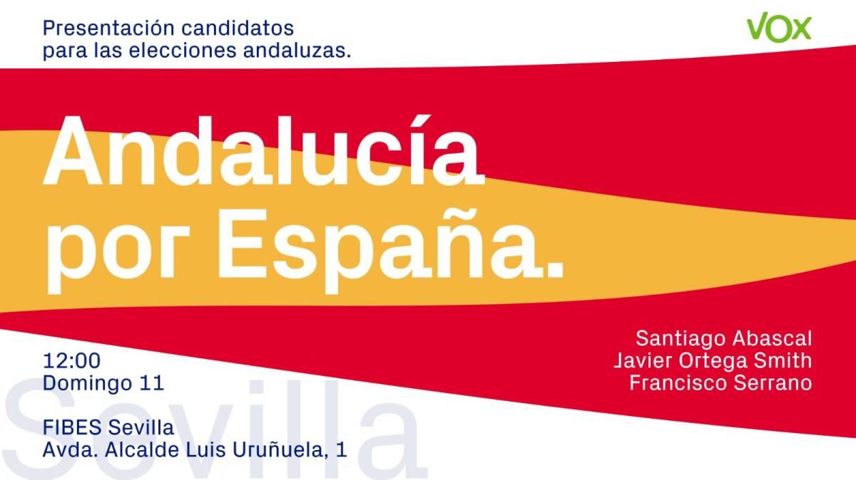 """OFRECEN UNA SALIDA PARA LA RUINA Y CORRUPCIÓN ANDALUZA - VOX """"repetirá"""" su Vistalegre en Sevilla este domingo / Dar voz y voto a miles de andaluces que quieren acabar de una vez por todas con los cuarenta años de una Andalucía sometida a la corrupción, el clientelismo, el paro y el estancamiento económico"""